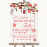 Coral Rustic Wood Loved Ones In Heaven Customised Wedding Sign