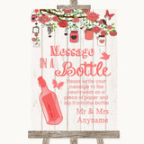 Coral Rustic Wood Message In A Bottle Customised Wedding Sign
