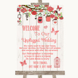 Coral Rustic Wood No Phone Camera Unplugged Customised Wedding Sign
