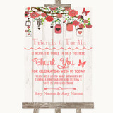 Coral Rustic Wood Photo Guestbook Friends & Family Customised Wedding Sign