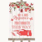 Coral Rustic Wood Photobooth This Way Left Customised Wedding Sign