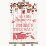 Coral Rustic Wood Photobooth This Way Right Customised Wedding Sign