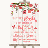 Coral Rustic Wood Plant Seeds Favours Customised Wedding Sign