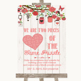Coral Rustic Wood Puzzle Piece Guest Book Customised Wedding Sign
