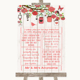 Coral Rustic Wood Romantic Vows Customised Wedding Sign