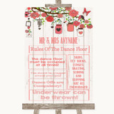 Coral Rustic Wood Rules Of The Dance Floor Customised Wedding Sign
