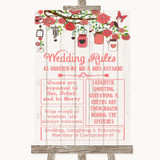 Coral Rustic Wood Rules Of The Wedding Customised Wedding Sign