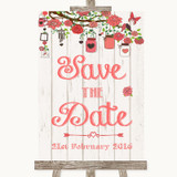 Coral Rustic Wood Save The Date Customised Wedding Sign