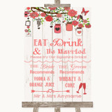 Coral Rustic Wood Signature Favourite Drinks Customised Wedding Sign