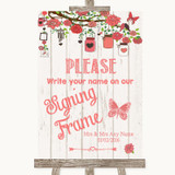 Coral Rustic Wood Signing Frame Guestbook Customised Wedding Sign