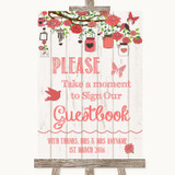 Coral Rustic Wood Take A Moment To Sign Our Guest Book Customised Wedding Sign