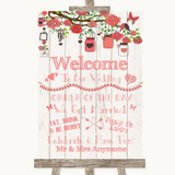 Coral Rustic Wood Welcome Order Of The Day Customised Wedding Sign