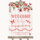Coral Rustic Wood Welcome To Our Engagement Party Customised Wedding Sign