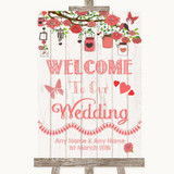 Coral Rustic Wood Welcome To Our Wedding Customised Wedding Sign