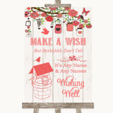 Coral Rustic Wood Wishing Well Message Customised Wedding Sign