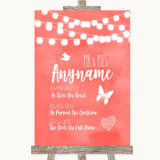 Coral Watercolour Lights Important Special Dates Customised Wedding Sign