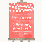 Coral Watercolour Lights In Our Thoughts Customised Wedding Sign