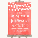 Coral Watercolour Lights Instagram Hashtag Customised Wedding Sign
