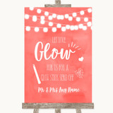 Coral Watercolour Lights Let Love Glow Glowstick Customised Wedding Sign
