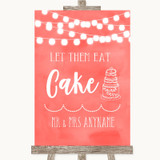 Coral Watercolour Lights Let Them Eat Cake Customised Wedding Sign