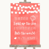 Coral Watercolour Lights Light Up The Sky Rule The World Wedding Sign