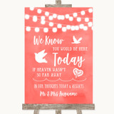 Coral Watercolour Lights Loved Ones In Heaven Customised Wedding Sign