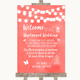 Coral Watercolour Lights No Phone Camera Unplugged Customised Wedding Sign