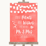 Coral Watercolour Lights Petals Wishes Confetti Customised Wedding Sign