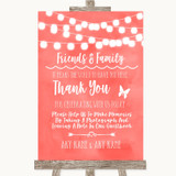 Coral Watercolour Lights Photo Guestbook Friends & Family Wedding Sign