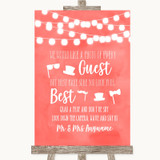 Coral Watercolour Lights Photo Prop Guestbook Customised Wedding Sign