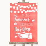 Coral Watercolour Lights Photobooth This Way Left Customised Wedding Sign