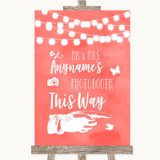 Coral Watercolour Lights Photobooth This Way Right Customised Wedding Sign
