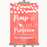 Coral Watercolour Lights Pimp Your Prosecco Customised Wedding Sign