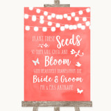 Coral Watercolour Lights Plant Seeds Favours Customised Wedding Sign