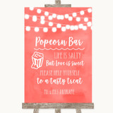Coral Watercolour Lights Popcorn Bar Customised Wedding Sign