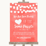 Coral Watercolour Lights Puzzle Piece Guest Book Customised Wedding Sign
