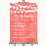 Coral Watercolour Lights Rules Of The Dance Floor Customised Wedding Sign