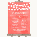 Coral Watercolour Lights Rules Of The Wedding Customised Wedding Sign