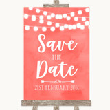 Coral Watercolour Lights Save The Date Customised Wedding Sign