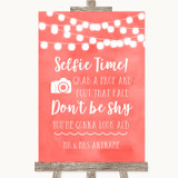 Coral Watercolour Lights Selfie Photo Prop Customised Wedding Sign