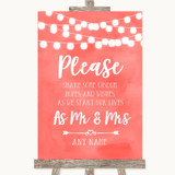 Coral Watercolour Lights Share Your Wishes Customised Wedding Sign