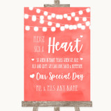 Coral Watercolour Lights Sign a Heart Customised Wedding Sign