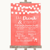 Coral Watercolour Lights Signature Favourite Drinks Customised Wedding Sign