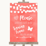 Coral Watercolour Lights Signing Frame Guestbook Customised Wedding Sign