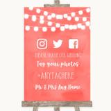 Coral Watercolour Lights Social Media Hashtag Photos Customised Wedding Sign