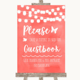 Coral Watercolour Lights Take A Moment To Sign Our Guest Book Wedding Sign
