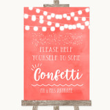 Coral Watercolour Lights Take Some Confetti Customised Wedding Sign