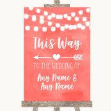 Coral Watercolour Lights This Way Arrow Left Customised Wedding Sign