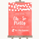 Coral Watercolour Lights Toilet Get Out & Dance Customised Wedding Sign