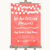 Coral Watercolour Lights We Are Getting Married Customised Wedding Sign